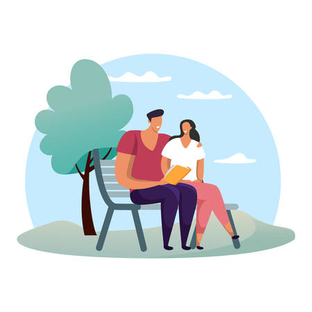 Woman and man at park reading book. Boyfriend and girlfriend at date or rendezvous. Romantic couple at bench. Friends meeting. Simple and flat people on bench. Meeting and conversation