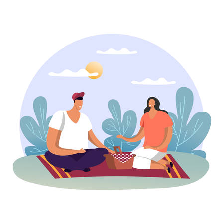 Smiling family at summer picnic or man and woman at date on blanket. Spring venue with food at forest or wood. Male and female at park. Cartoon and simple people. Relationship and holiday theme