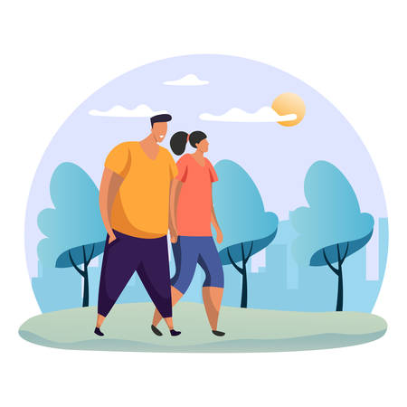 Couple walking at park. Woman and man holding hand at date. Flat or simple people at romantic rendezvous. Female and male at nature, forest or wood. Friends meeting. Dating theme Иллюстрация