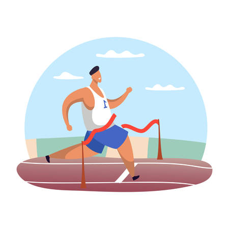 Running man at finish line or jogging male finishing with red ribbon. Race competitor at finish line. Athlete marathon finisher or sprint winner. Champion and leader, first place and victory, sport 일러스트