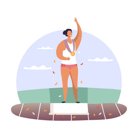 Woman at podium with gold medal. Female sport competition winner at pedestal with golden award. First place or best competition award for marathon or runner. Olympiad leader. Sportsman and tournament 일러스트