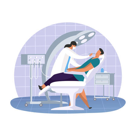 Dental office with dentist woman and patient. Cartoon simple doctor at oral clinic with stomatology tool. Teeth or tooth care hospital. Medical and toothache, healthcare and profession theme