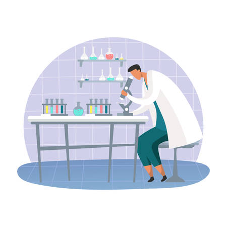 Cartoon science lab with scientist or scientific laboratory for research and biology, chemical experiment. Glass tubes and flasks, researcher man or chemist. Pharmaceutical and medicine analysis Vector Illustration