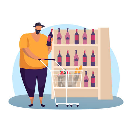Man at wine shop choosing red alcohol in glassware bottle. Buyer at supermarket winery showcase or flat cartoon male with cart and fruits at drink store. Shopping and purchasing, retail, sommelier