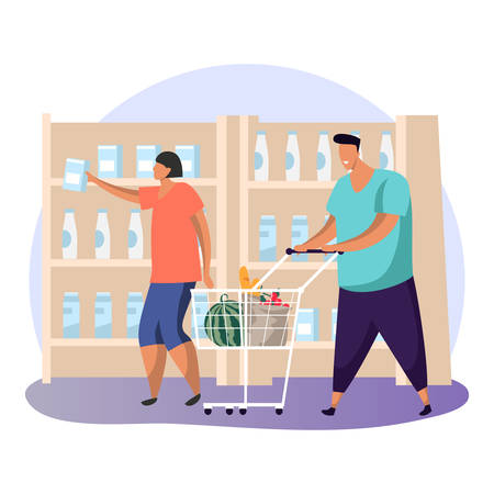 Flat man and cartoon woman at supermarket buying food. Simple people at shop or store purchasing goods, milk and fruits, grocery or products. Male with cart and female at mall near dairy. Shopper