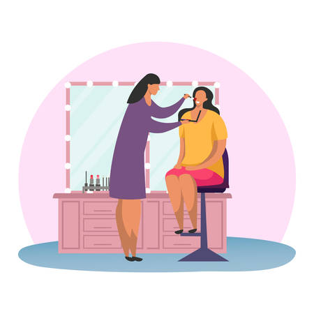 Woman at makeup or female at make up professional. Stylist with brush and artist at face treatment or skin care procedure. Make-up near mirror with visagist. Facial cosmetology. Cosmetic salon, saloon Stock Illustratie