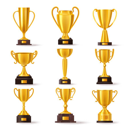 Golden cup award, first place gold trophy prize vector flat icons. Soccer sport champion winner golden cup and best achievement reward bowl with name plate on pedestal