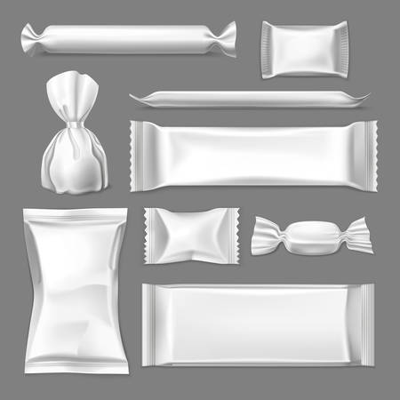 Set of realistic wrapper for confectionary products, wrap for candy and sachet for sugar, pack for salt, bag for sweets. Blank or empty 3d container mockup. Food and packaging, packing and merchandise Stock Illustratie