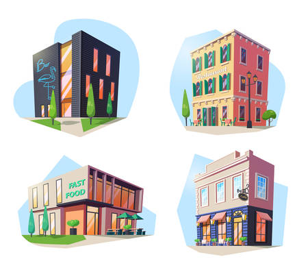 Set of isolated buildings for nutrition. Fast food and bar, restaurant and cafe, bistro and cafeteria, pub and buffet. Alcohol drink and food shop or store. City structure facade outdoor. Architecture Çizim