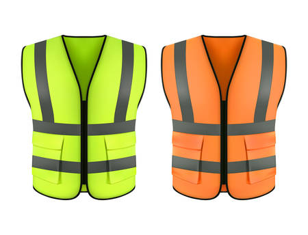Set of realistic reflective orange vest or green construction jacket. Clothing form or safety cloth, fluorescent wear for worker, Waistcoat or workwear, warning equipment for road. Sleeveless suit