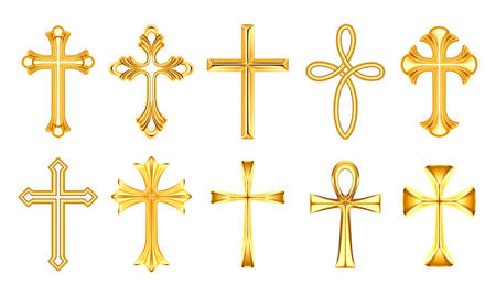 Set of realistic christian cross, religion catholic sign. Orthodox and catholicism holy symbol. Church and christianity yellow insignia. Pray and religious, faith and spirituality, God, Jesus