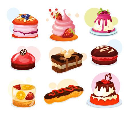 Conjunto de trozo de pastel aislado o galleta con fresa, gelatina con fruta de limón, tarta con palitos de caramelo y crema y glaseado. Panadería y confitería, cumpleaños y vacaciones, postre y celebración, dulces.