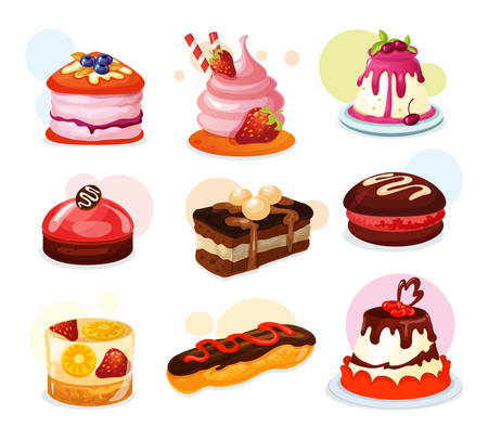 Zestaw na białym tle kawałek ciasta lub herbatniki z truskawkami, galaretka z owocami cytryny, ciasto z patyczkami cukierków i śmietaną i lukrem. Piekarnia i słodycze, urodziny i święta, desery i uroczystości, słodycze