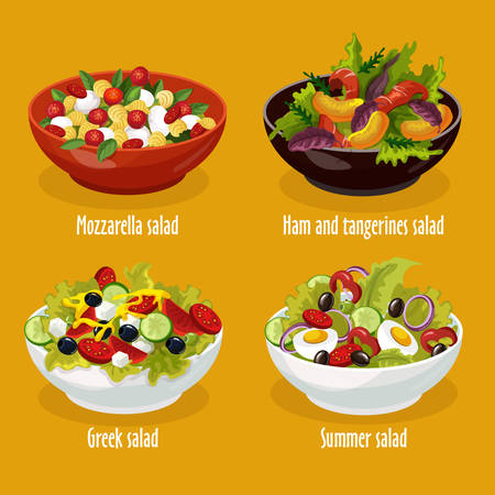 Set of isolated salad in bowl for restaurant menu. Greek lettuce and mozzarella dish, ham and tangerines. Summer food with tomato and onion, pepper and egg, vegetables. Plate with vegan cook.Nutrition