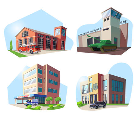 Set of isolated municipal buildings. Firehouse or fire house, hospital and police department, military base with tank and watchtower. Firefighter and medicine, army and officer, policeman facade