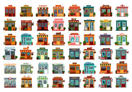 Set of isolated shop facade or store buildings. Beauty salon, wine, tea, pizzeria, burger, flower, barber, coffee, sushi, travel agency, book, paper beer meat fish food vegetable Architecture