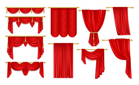 Set of realistic open red curtain with eaves. Velvet theater decoration for stage acting, fabric background for movie or film, contest or signing performance, drape for opera, broadway, orchestra