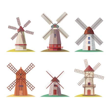 Ensemble de moulin en pierre hollandais isolé ou moulin à vent en bois néerlandais, bâtiment hollandais pour la farine ou structure rurale européenne. Meules pour le traitement des céréales ou du pain. Thème du blé et de l'architecture vintage