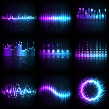Fala dźwiękowa, korektor dźwięku muzycznego z wzorcem częstotliwości, różne kształty wektorowe. Abstrakcyjna fala dźwiękowa muzyki w fioletowych i niebieskich neonowych kolorach, wzmacniacz elektroniczny i grafika ze spektrum rekordów rytmu