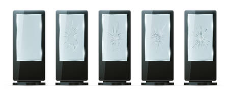 Light box with broken glass, outdoor advertising stands, vector realistic models. Lightboxes or POS terminal digital displays with black frames and cracked glass, street vandalism