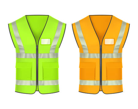 Sicherheitsweste mit retroreflektierenden Streifen, Vektormodellvorlagen. Warnschutzkleidung, reflektierende Jacke oder Warnweste in grüner und leuchtend oranger Farbe, persönliche Schutzkleidung der Arbeiter
