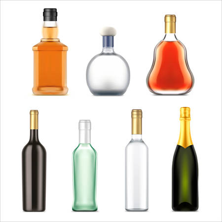 Alcohol drinks bottles, vector realistic isolated set. Premium alcohol drink bottles of whiskey, vodka and gin, rum, tequila and cognac, bourbon and champagne, bar beverages Vector Illustration