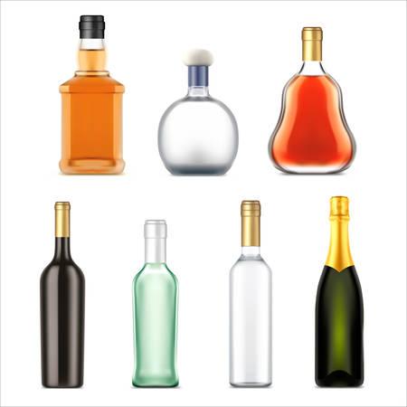 Bottiglie di bevande alcoliche, insieme isolato realistico di vettore. Bottiglie di bevande alcoliche premium di whisky, vodka e gin, rum, tequila e cognac, bourbon e champagne, bevande da bar Vettoriali