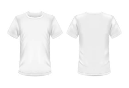 Weißes T-Shirt, leeres realistisches Modellmodell des Vektors 3d. Sportbekleidung für Männer und Frauen oder lässiges T-Shirt mit Rundhalsausschnitt und kurzen Ärmeln, Vorder- und Rückansicht für Branding-Vorlage