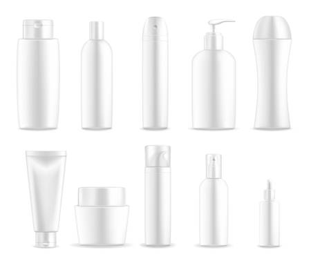 Cosmetic package containers and white plastic bottles, vector blank ed, realistic mockups. Skincare package cream tubes and body lotion, shaving foam or shower gel and liquid soap with dispenser