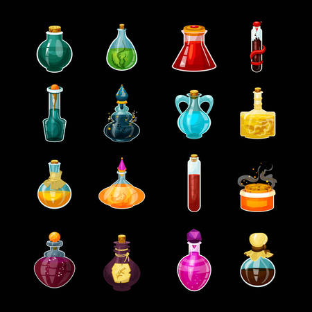 Set of isolated glass potions or magic bottles with snake venom. Cartoon love elixir or alchemy drink, 2d flask with chemical or medical substance and cork. Gaming jar for mana or health. App gui icon