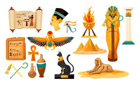 Set of isolated egyptian or Egypt symbols or icon. Sphinx and pharaoh head, pyramid, papyrus with hieroglyphs and bug, eye and beetle, mummy and column, vase, black cat, nefertiti, scarab. Egyptology