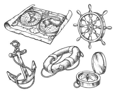 Set of isolated sketch of sea equipment. Ocean compass and vintage map, hand drawn ship or boat steering wheel and anchor, lifebuoy. Hand drawn sailing or pirate icon. Navigation and nautical theme 向量圖像
