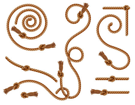 Curtain tassels and braided ropes with knots and brushes, vector realistic brown and golden cords. Vintage twisted velvet and hemp whipcord, curved and knotted frames