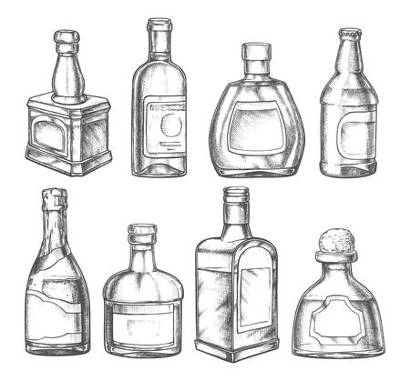 Alcohol drink bottles, vector pencil sketch icons. Premium quality alcohol drink bottles of whiskey, rum and absinthe, champagne, wine and scotch, tequila, vermouth and cocktail liquor with lids