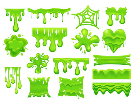 Set of isolated green slime drip or spooky blob, dripping paint or dirty liquid, pouring mucus. Splash and smudge, poison stain, radioactive or toxic splatter background. Goo or bacteria. Halloween