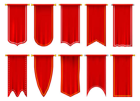 Vertical red flags or banners. Set of isolated realistic pennant. 3d hanging fabric on pole or spire. Blank or empty background for sport events, heraldic triangle and rectangle champion signs Vettoriali