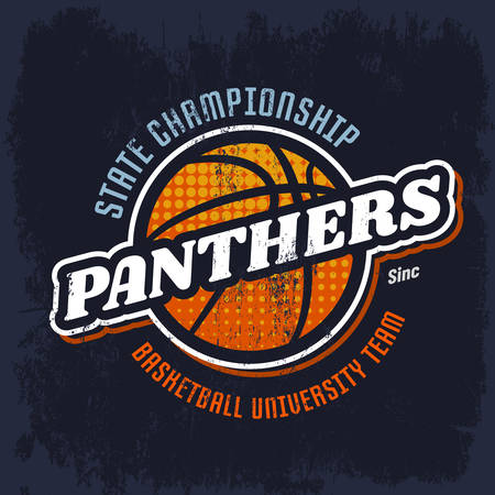 Panthers basketball emblem for sport team. Sign for street ball tournament. Logo for sportswear or clothing emblem. State college or university team banner. Branding, gear or equipment, clothing theme