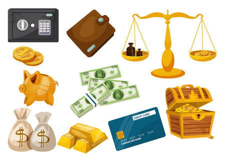 Set of isolated bank bag with dollar signs, golden coins and banknotes, gold ingot and credit card, moneybag and scale, wallet and pirate chest, safe or strongbox, treasure. Business, money, deposit
