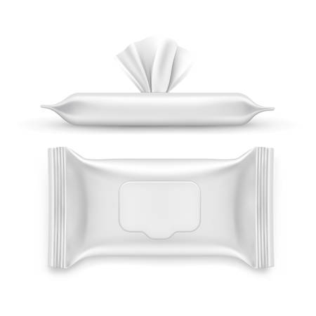 Realistic white napkin pack. Top and side view on blank packet for facial wet wipe. 3d container for serviette, antibacterial hand doily. Mockup or closeup for hygiene or clean wipe. Makeup, cosmetic Ilustracje wektorowe