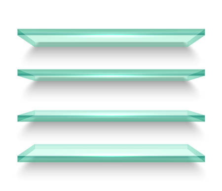 Realistic horizontal windows or shelves for fridge, glassware bookshelf or transparent shelf for books on white wall. Empty or blank furniture for interior background, 3d board with shadow. Shelving Ilustración de vector