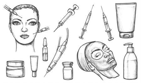 Croquis cosmétiques. Ensemble de visage de femme isolée avec injection, masque cosmétique et seringue, bouteille de lotion ou de gel, pommade ou pommade. Soins de la peau et dermatologue, soins de beauté médicaux, salon de spa
