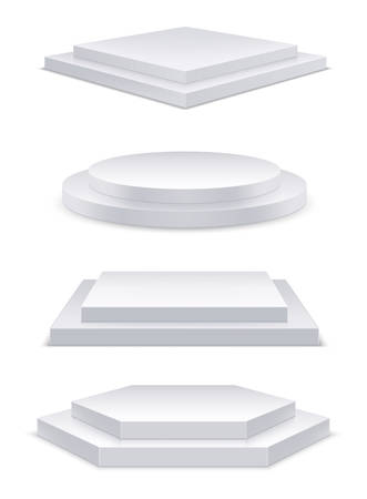 Realistic white podium with steps or 3d round stage. Square or hexagon platform for showroom. Circle stand mockup, geometric pedestal template for background. Perspective interior for winner ceremony