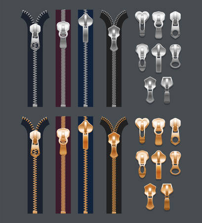 Set of isolated realistic metal zippers or 3d fabric zip. Cloth stitch or fastener, closed locker and clasp, unzipped clothing, buckle. Sewing, apparel, accessories, tailor. Gold and silver pullers