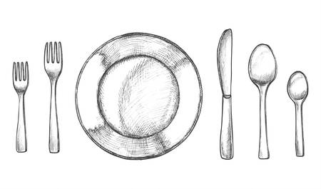 Sketch of plate and spoon, fork and knife. Kitchen utensil or silverware, cutlery and crockery, table dishware for dinner or breakfast, domestic and dinnerware, hand drawn kitchenware, dish. Vector