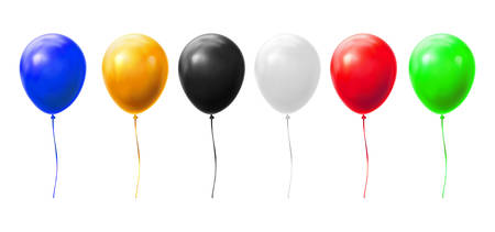 Balloons with ribbons vector realistic isolated on white background. Birthday, holiday party celebration and sale flying helium balloons of different colors and glossy light reflection Reklamní fotografie - 138473143