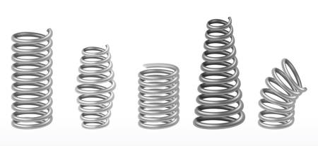 Metal springs or machine absorbers, vecor realistic 3d isolated objects. Abstract shiny metallic chrome springs extended and compressed of different shapes