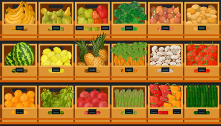 Fruits and vegetables in supermarket grocery store shelves, farm market boxes, shop product display. Vector banana, broccoli and onion, potatoes and pepper, cucumbers, pomegranates and watermelon Zdjęcie Seryjne - 138473207