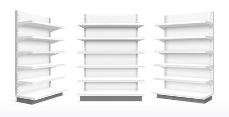 Shop product display racks with shelves, vector realistic 3D mockup templates, front and angle side view. Commercial store and supermarket display stands and exhibition showcases Foto de archivo - 138473038