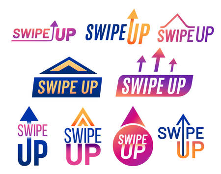 Swipe up arrow vector icons for mobile app UI template and social blogs web elements. Swipe up red and blue purple gradient flat modern icons for user interface graphic design