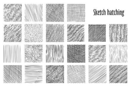 Dibuje patrones de trama, fondos abstractos de vectores dibujados a mano. Dibujo a lápiz lineal y patrones de garabatos, líneas cruzadas, onduladas y paralelas, textura gráfica de esbozo de trama Ilustración de vector